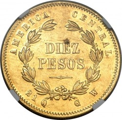 Moeda > 10pesos, 1876 - Costa Rica  - reverse