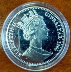 Moneta > 1corona, 1994 - Gibilterra  (XV Coppa del Mondo FIFA, Stati Uniti 1994 - Portiere e attaccante) - obverse