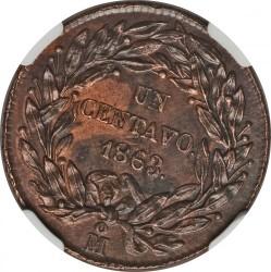 Munt > 1centavo, 1863 - Mexico  - reverse