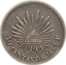 錢幣 > 10分, 1867-1869 - 墨西哥  - reverse