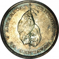 Munt > 50centavos, 1892 - El Salvador  (Flag on reverse) - reverse
