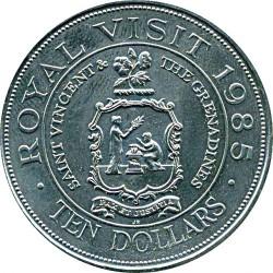 سکه > 10دلار, 1985 - سنت وینسنت و گرنادینس   (Royal Visit of Queen Elizabeth II) - reverse