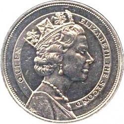 Minca > 10dollars, 1985 - Svätá Lucia  (Royal Visit of Queen Elizabeth II) - obverse