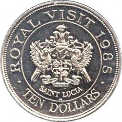 Coin > 10 dollars, 1985 - Saint Lucia  (Royal Visit of Queen Elizabeth II) - reverse