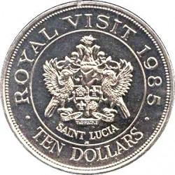 Minca > 10dollars, 1985 - Svätá Lucia  (Royal Visit of Queen Elizabeth II) - reverse