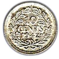 العملة > 10سنت, 1942 - سورينام  - reverse