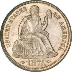 Moneda > 1dime, 1873-1874 - Estados Unidos  (Dime Libertad Sentada) - obverse
