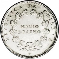 Monedă > ½decimo, 1851-1859 - Chile  - reverse