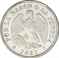 """Moneta > 20centavos, 1891 - Cile  (Trattino sotto """"S"""" di """"CENTs"""", 0,2 al diritto) - obverse"""