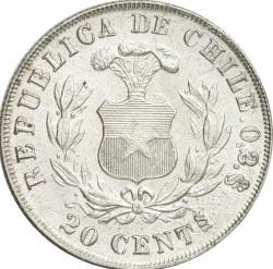 """Moneta > 20centavos, 1891 - Cile  (Trattino sotto """"S"""" di """"CENTs"""", 0,2 al diritto) - reverse"""