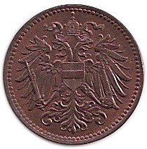 Монета > 1 хелер, 1916 - Австрия  (Austrian flag on shield) - obverse