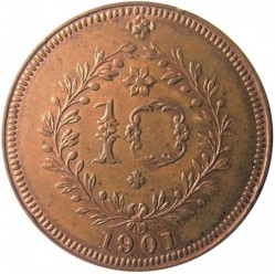 سکه > 10ریس, 1901 - آزور  - reverse