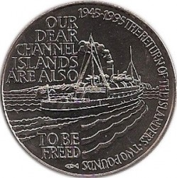 Monedă > 2 lire, 1995 - Alderney  (50th Anniversary - Return of Channel Islands) - reverse