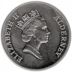 Moneda > 2libras, 1997 - Alderney  (50th Anniversary - Wedding of Queen Elizabeth II and Prince Philip) - obverse