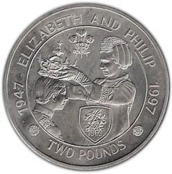 Moneda > 2libras, 1997 - Alderney  (50th Anniversary - Wedding of Queen Elizabeth II and Prince Philip) - reverse