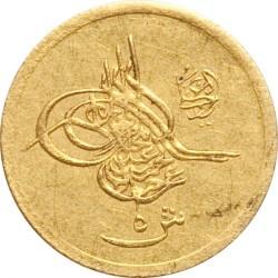 Moneta > 5qirsh, 1876 - Egipt  (Złoto /kolor żółty/. Równy rant) - obverse