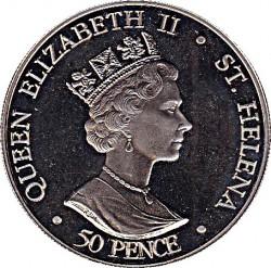 Moneta > 50pence, 2002 - Sant'Elena  (50° anniversario - Ascesa della regina Elisabetta II ) - obverse
