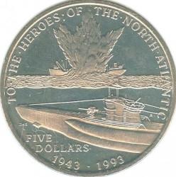 Moneta > 5dolarów, 1993 - Wyspy Marshalla  (Bohaterom Północnego Atlantyku) - reverse
