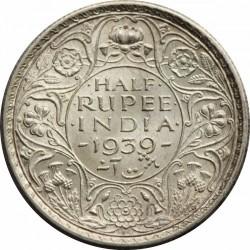 Moneta > ½rupia, 1939 - India Britannica  (Fleur-de-lis on the crown don't cross semi arc) - reverse