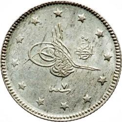 """Монета > 2куруш, 1909 - Османська імперія  (""""el-Ghazi"""" праворуч від тугри) - obverse"""