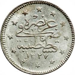 """Монета > 2куруш, 1909 - Османська імперія  (""""el-Ghazi"""" праворуч від тугри) - reverse"""
