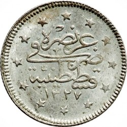 "Münze > 2Kuruş, 1909 - Osmanisches Reich  (""el-Ghazi"" right of Toughra) - reverse"
