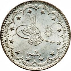 """Монета > 5курушів, 1909 - Османська імперія  (""""el-Ghazi"""" праворуч від тугри) - obverse"""