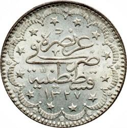 """Монета > 5курушів, 1909 - Османська імперія  (""""el-Ghazi"""" праворуч від тугри) - reverse"""