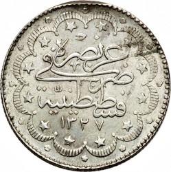 """Монета > 10курушів, 1909 - Османська імперія  (""""el-Ghazi"""" праворуч від тугри) - reverse"""