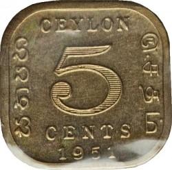 Coin > 5cents, 1951 - Ceylon  - reverse