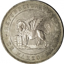 "Кованица > 5лира, 1848 - Venice  (Edge inscription: ""DIO BENEDITE L'ITALIA"") - obverse"