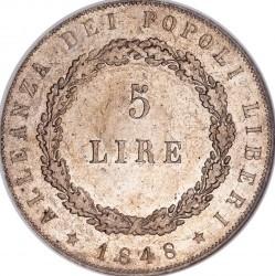 """Moneda > 5liras, 1848 - Venecia  (Inscripción en el canto: """"DIO PREMIERO' LA COSTA) - reverse"""