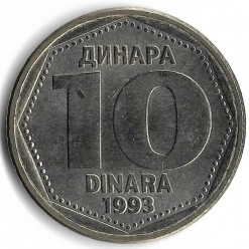 Moneda > 10dinares, 1993 - Yugoslavia  - obverse