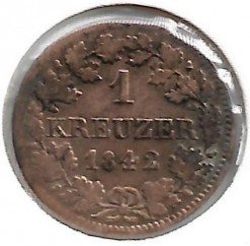 Кованица > 1крајцер, 1839-1856 - Bavaria  - obverse