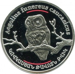Moneda > 100dram, 2008 - Armenia  (Mundo Salvaje del Cáucaso - Búho caucasiano) - obverse