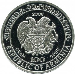 Moneda > 100dram, 2008 - Armenia  (Mundo Salvaje del Cáucaso - Búho caucasiano) - reverse