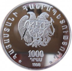 Moneda > 1000dram, 1998 - Armenia  (1700º Aniversario - Adipción del Cristianismo. Khachkar) - reverse
