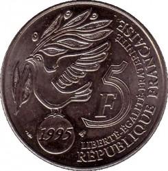 Moneda > 5francs, 1995 - França  (50è aniversari - Nacions Unides) - obverse