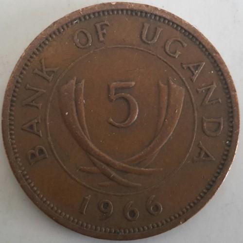 1966 Uganda 5 Cents Unc.