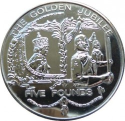 Moneda > 5 libras, 2002 - Guernesey  (50th Anniversary - Accession of Queen Elizabeth II /in the coach/) - reverse