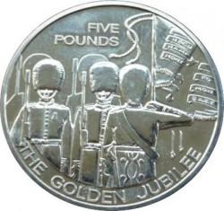 Münze > 5Pfund, 2003 - Guernsey  (50th Anniversary - Accession of Queen Elizabeth II /The Grenadier Guards/) - reverse