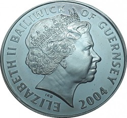 Moneta > 5 sterline, 2004 - Guernsey  (Locomotive a vapore - Due locomotive) - obverse