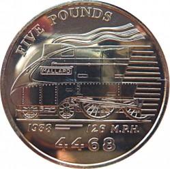 Munt > 5pounds, 2004 - Guernsey  (Steam Locomotives - LNER Class A4 4468 Mallard) - reverse