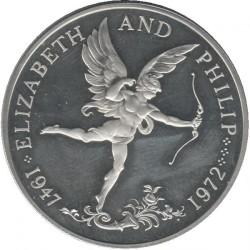 Monedă > 25 pence, 1972 - Guernsey  (25th Anniversary - Wedding of Queen Elizabeth II and Prince Philip) - obverse