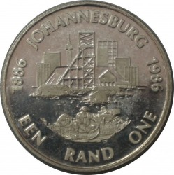 Coin > 1 rand, 1986 - South Africa  (100th Anniversary - Johannesburg) - reverse
