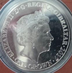 Moneta > 1corona, 2017 - Gibilterra  (70° anniversario - Matrimonio della regina Elisabetta II e del principe Filippo) - obverse