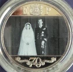 Moneta > 1corona, 2017 - Gibilterra  (70° anniversario - Matrimonio della regina Elisabetta II e del principe Filippo) - reverse