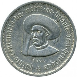 Mynt > 5escudos, 1960 - Portugal  (500th Anniversary - Death of Prince Henry) - obverse