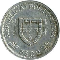 Mynt > 5escudos, 1960 - Portugal  (500th Anniversary - Death of Prince Henry) - reverse