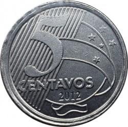 錢幣 > 50分, 2012 - 巴西  (Error Coinage - 5 Сentavo Denomination) - reverse